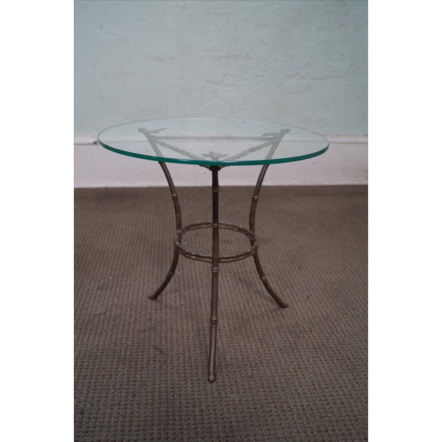 Brass & Glass Faux Bamboo Round Small Side Table - Image 3 of 10