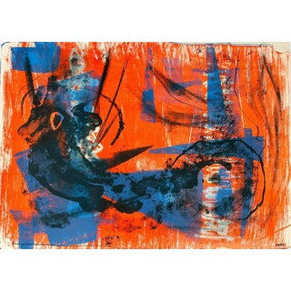 Jerry Opper Abstract Expressionism in Blue and Orange For Sale