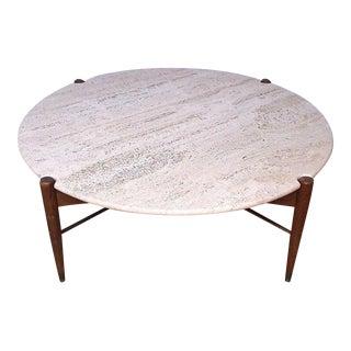 Dux Danish Modern Marble & Wood Travertine Table