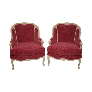 Stickley French Louis XV Style Bergere Chairs - A Pair For Sale