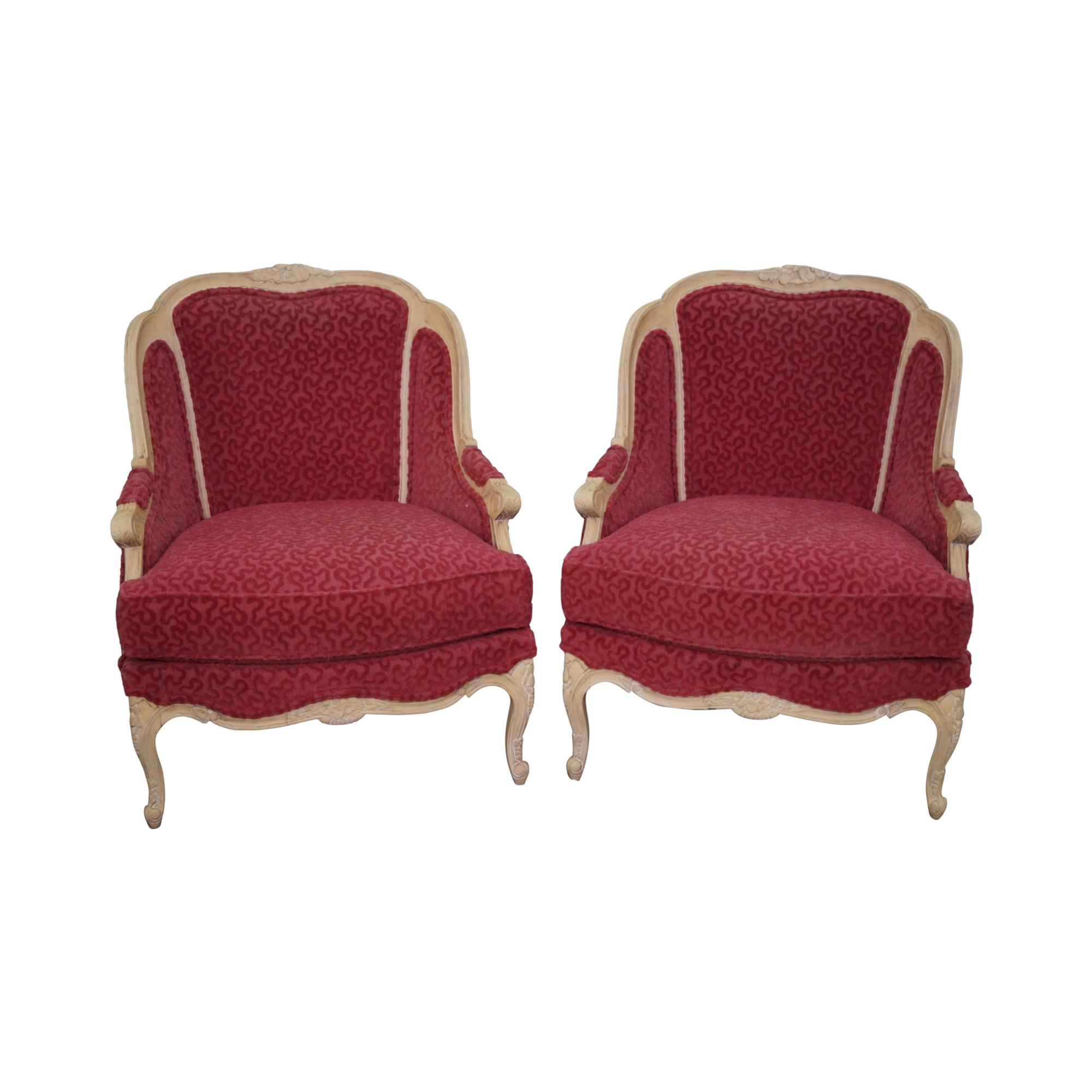 Stickley French Louis XV Style Bergere Chairs   A Pair