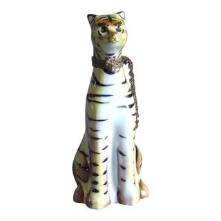 Vintage Limoges Tiger Tabby Cat Trinket Box For Sale