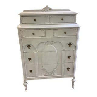 Antique Dresser Pale Blue Carved Inlay Chest For Sale
