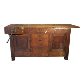 Antique Indsustrial Carpenters Workbench Table/Kitchen Island For Sale