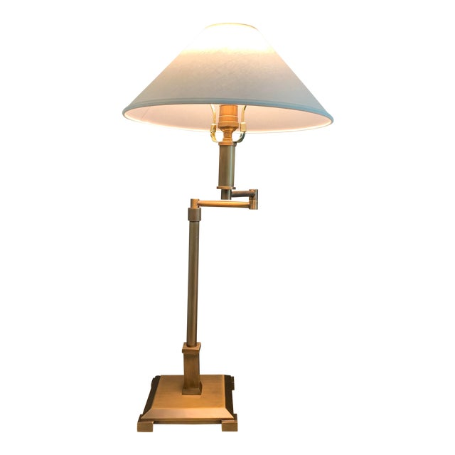 2 Rh Petit Candlestick Swing Arm Table Lamps W Linen Shades For Sale