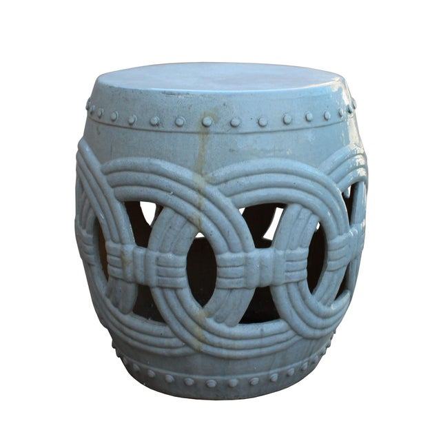Chinese White Coin Pattern Round Clay Ceramic Garden Stool For Sale - Image 5 of 7