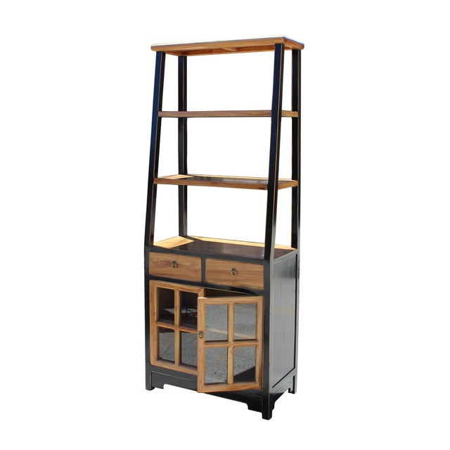 Oriental Black Brown Glass Door China Bookcase Cabinet For Sale In San Francisco - Image 6 of 7