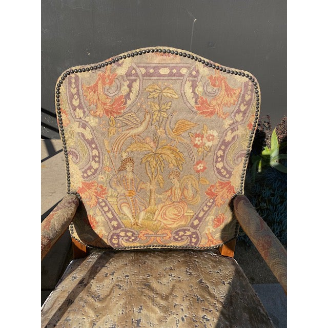 Late 19th Century Pair of 19th. C. French Walnut Petite Needle Point Arm Chairs For Sale - Image 5 of 12