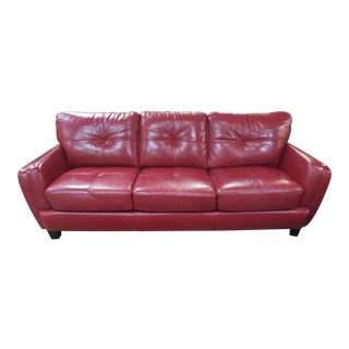 Vintage Mid Century Red Leather Modern Sofa For Sale