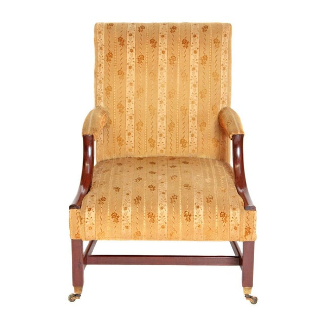 """18th Century George III Upholstered """"Gainsborough"""" Library Chair For Sale - Image 10 of 12"""