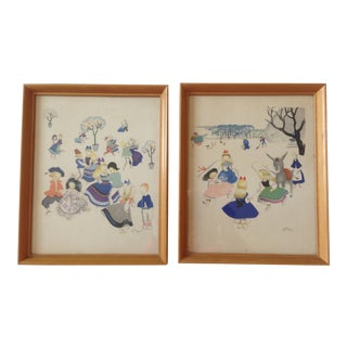 "1940s ""Children Dancing"" Reproduction Prints by Josette Boland, Framed - a Pair For Sale"