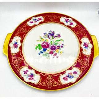 Vintage H&b Selb Heinrich Bavaria Floral Gilt Cake Platter Preview