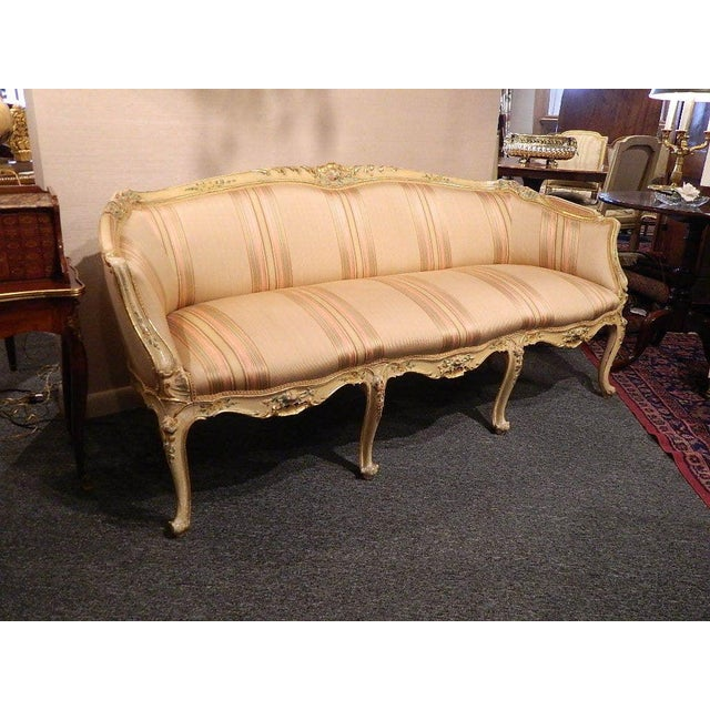 French Poly-Chrome Louis XV Style Sofa With Carvings, Mid-18th Century For Sale - Image 3 of 8
