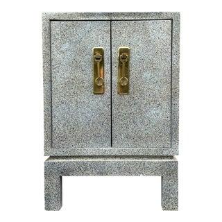 Karl Springer Style Cabinet Side Table For Sale