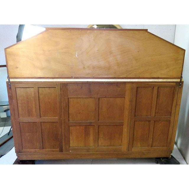 Mid Century Modern Burl Walnut Inlaid Marble-Top Sideboard With Mirror For Sale - Image 10 of 11