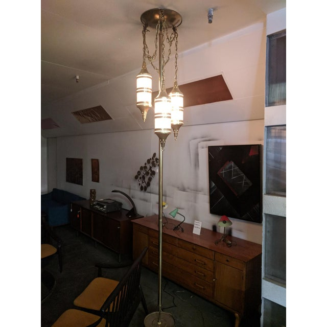 Brass Mid Century Tension Pole Swag Lamp With 3 Brass Moroccan Style Fixtures For Sale - Image 7 of 8