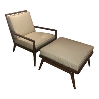 Vintage T. H. Robsjohn-Gibbings Wwz Lounge Chair and Matching Ottoman For Sale