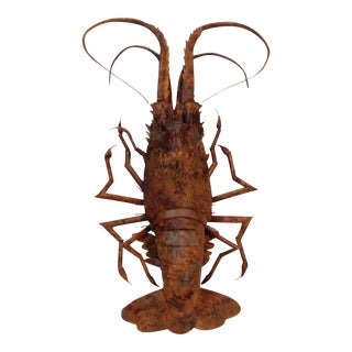 Hand Painted Wooden Lobster in Faux Bamboo Finish For Sale