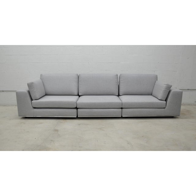 2010s Contemporary Gray Modular Sectional Sofa and Ottoman For Sale - Image 5 of 13