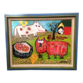 "Folk Art ""Keep Mama Happy"" Cat Dog Original Painting For Sale"