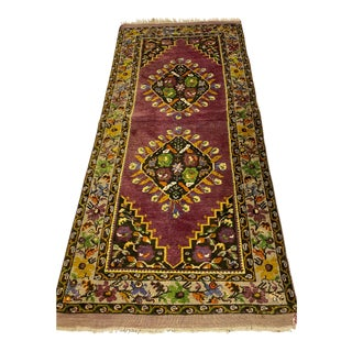 Tehranian Hand Woven Purple Floral Wool Rug For Sale