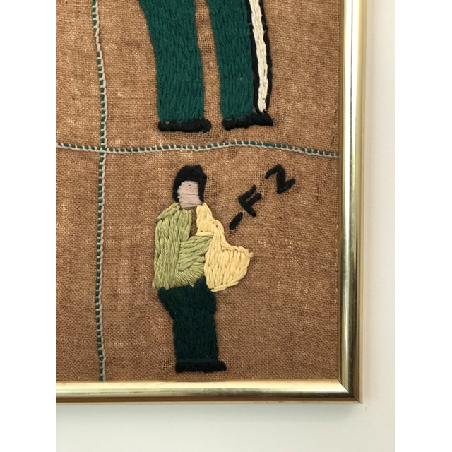 Mid-Century Modern Mid-Century Embroidered Tapestry of Musicians For Sale - Image 3 of 13