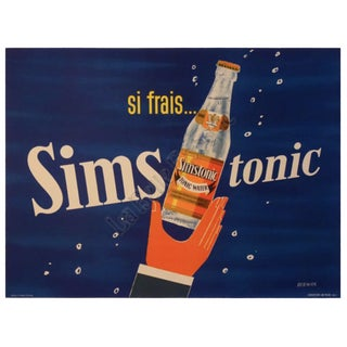 1960s Vintage Francois Venier 'Simstonic' French Tonic Water Poster For Sale