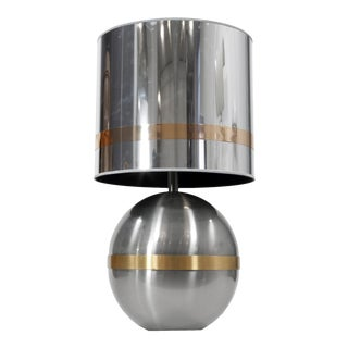 Reggiani Spherical Chrome with brass Table Lamp For Sale