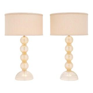 Pair of Murano Avventurina Glass Lamps For Sale