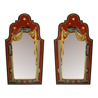 Italian Art Deco Style Red, Gold, And Grey Painted Eglomise Wall Mirrors- A Pair For Sale