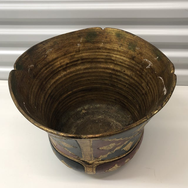 1970s Vintage Florentine Terracotta Hand Painted Planter For Sale - Image 5 of 7