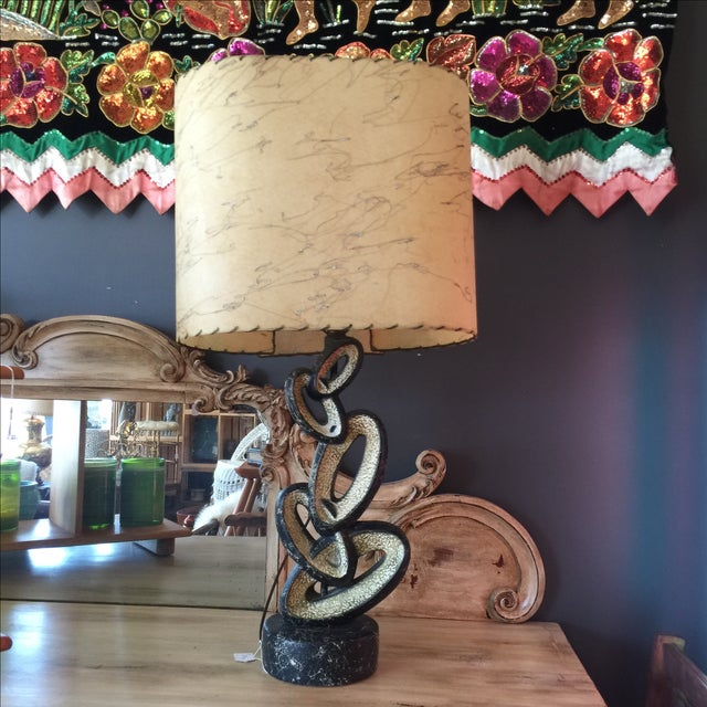 Mid Century Lamp with Fiberglass Shade - Image 5 of 9