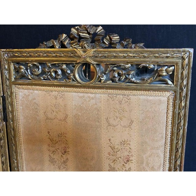 Louis XVI Style 3-Panel Folding Screen / Room Divider With French Tapestry For Sale In New York - Image 6 of 13