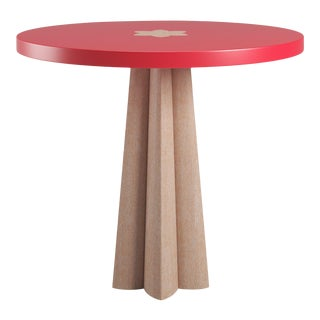Danielle Side Table - Natural Cerused Oak - Bull's Eye Red For Sale