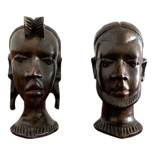 Vintage Carved African Ebony Heads - a Pair For Sale