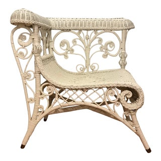 Vintage White Wicker Victorian-Style Corner Chair For Sale