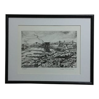 1970s Vintage Jopseh Margulies Brooklyn Bridge Etching Print Association of American Artists For Sale