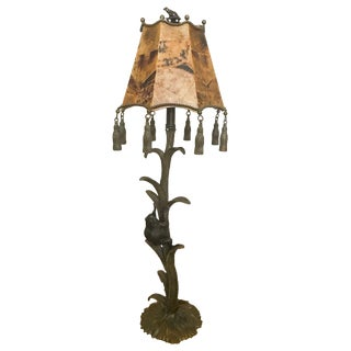 Maitland-Smith Brass Frog Lamp With Penshell Inlaid Shade