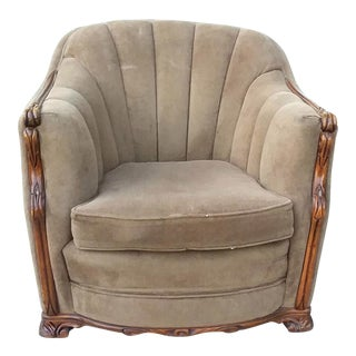 Mahogany & Mohair Art Deco Club Chair For Sale