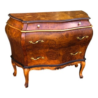 Italian Oyster Laburnum Burl Walnut Commode Night Stand End Table For Sale
