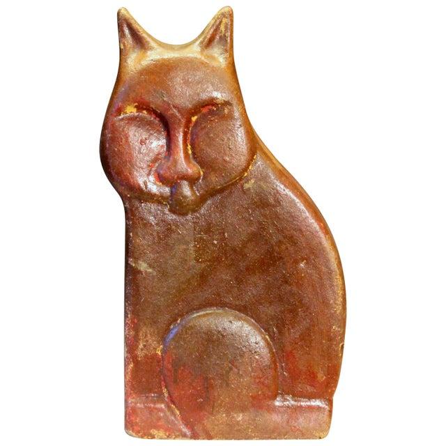 Red Large Vintage or Antique Folk Art Pottery Sewer Tile Type Cat Figure Sculpture For Sale - Image 8 of 8