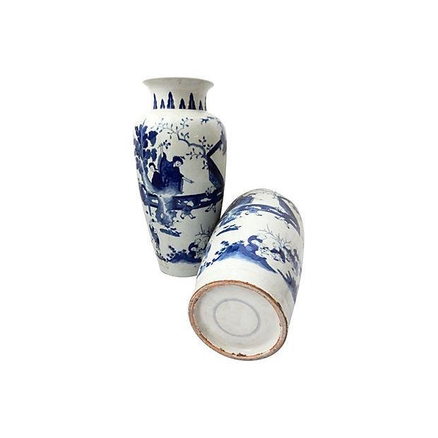 Hand-Painted Blue & White Vases, Pair - Image 8 of 9