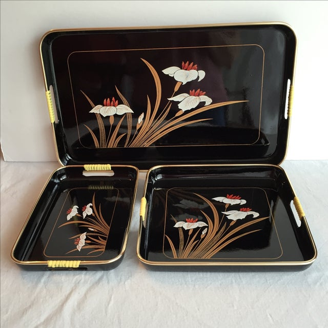 Black Lacquered Trays - Set of 3 - Image 2 of 11
