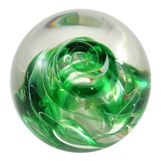 1980s Vintage Hand Blown Green Glass Paper Weight For Sale