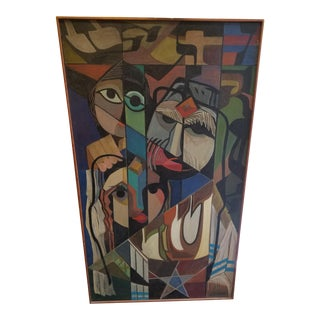 Mid-Century Modern Oil on Canvas by Stetson For Sale