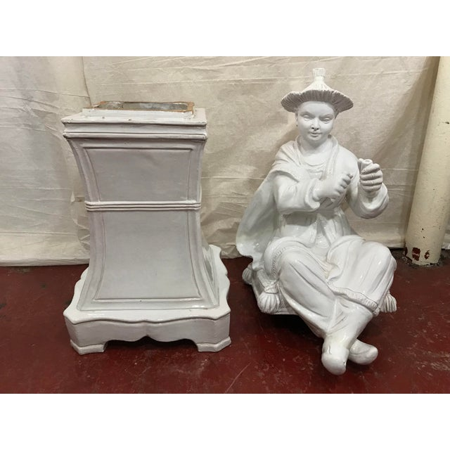 White Italian White Glazed Asian Figures a Pair For Sale - Image 8 of 9