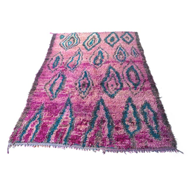 Handwoven vintage Moroccan Boujad rug in lavender, magenta, and turquoise wool with an incredible abstract design.