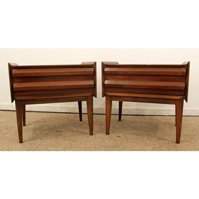Lane Mid-Century Danish Modern Walnut Nighstands- A Pair - Image 4 of 11