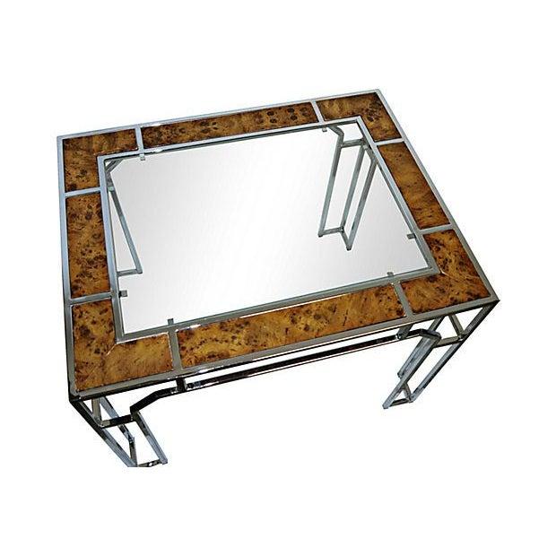Milo Baughman-Style Chromed Steel & Burlwood Table - Image 4 of 5
