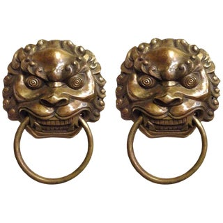 Pair Vintage Lion Brass Knockers Medium Size For Sale